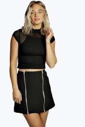 Hannah Double Zip Front Mini Skirt