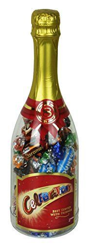 Celebrations bouteille cadeau Noël 320g: Celebrations bouteille cadeau Noël 1 bouteille de 320g avec Mars, Snickers, Bounty, Milky Way,…