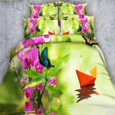 butterfly floarl 3d comforter cover pink green 34pc girls decor bedding sets twin queen