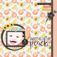 Layout using {Such A Peach} Digital Scrapbook Kit by KimB Designs available at The Digital Press http://shop.thedigitalpress.co/Such-a-Peach-The-Kit.html #kimbdesigns