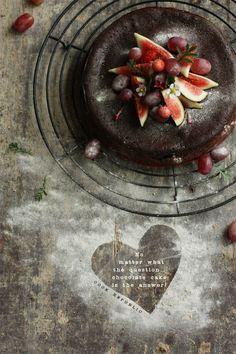 Chocolate cake with fruit