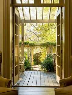 Extend the Indoors -A pergola doesn't need to be big and grand to be effective; This simple pergola, outside a set of French doors, makes the transition from indoors to out in a stylish way Better Homes And Gardens, Outdoor Rooms, Outdoor Gardens, Outdoor Living, Petits Hangars, Porches, Veranda Design, Arbors Trellis, Pergola Plans
