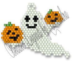 Pumpkin Ghostie Bead Pattern at Sova-Enterprises.com