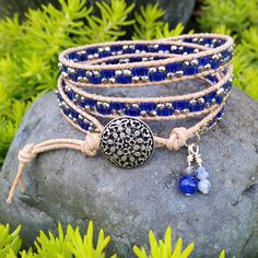 Triple Wrap Leather Beaded Bracelet Dark Cobalt Blue 1/2 Tila Tiles accented by Twinkling Silver Plated Crystal Rondelles and the button is sweet with tiny flowers and intricate curly ques help make this Triple Wrap Bracelet a nice addition to your jewelry collection. Bracelet Leather Jewelry, Boho Jewelry, Jewelry Ideas, Beaded Leather Wraps, Triple Wrap, Friend Bracelets, Beaded Wrap Bracelets, Handmade Beaded Jewelry, Tiny Flowers