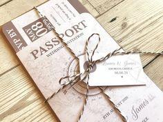 Passport Wedding Invitation, Vintage Travel, Boarding Pass Invite, Wedding Abroad, Destination Wedding, Travel Wedding, SAMPLE