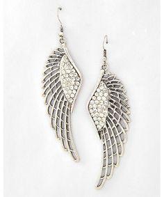 444764 Angel Wing Dangle / Fish Hook Earring Set