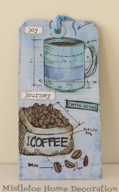 Tag with Tim Holtz coffee stamps (Fresh Brewed)