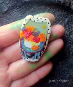 jasmin french ' grannies parlor ' lampwork focal by jasminfrench
