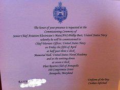 Warrant Officer Commissioning Invitation Warrant Officer, Navy Chief, Naval Academy, Invitation, Army, Military, The Unit, Memories, Gi Joe