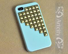 Studded Iphone Case, Bronze pyramid studs Light Green IPHONE 4/4S Case----for Apple iPhone 4 Case, iPhone 4s Case, iPhone 4 Hard Case. $15.99, via Etsy.