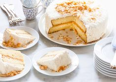 This coconut cake is a total showstopper at any gathering. With lemon curd filling and vanilla buttercream frosting. Make-ahead options; keeps well.