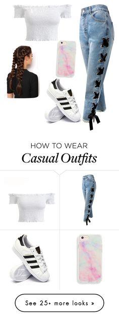 """Casual Weekend Oufit"" by aliceeem6 on Polyvore featuring Sans Souci, adidas and LullaBellz"