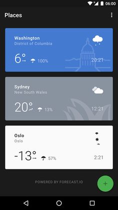 Weather Timeline Android App -- Card with image / icon as background Android Design, Android Ui, App Ui Design, User Interface Design, Design Web, Flat Design, Simple Weather, Module Design, Web Design Mobile