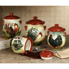 High Quality Le Rooster Kitchen Canister Set