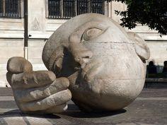 """Sculpture """"The Listener"""" Paris, France."""