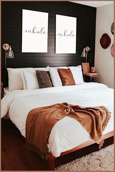 Small Room Bedroom, Room Ideas Bedroom, Home Bedroom, Modern Bedroom, Small Rooms, Black Bed Room Ideas, Black Bedroom Walls, Black Master Bedroom, Black Room Decor
