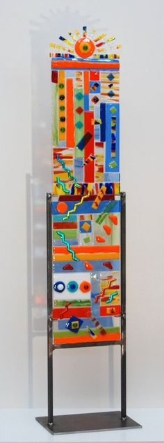"""""""Sunshine"""" Multi Color Fused Glass Totem Small 27"""" High 6"""" Wide"""