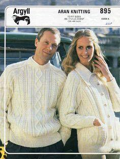 womens mens aran knitting pattern PDF download aran sweater aran jacket with…