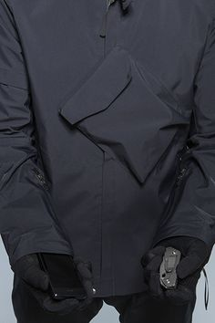 Jacket with slanted pocket detail; sewing idea; close up fashion design detail // Acronym