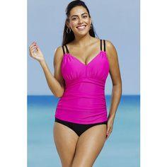 7fa8473036143 Delta Burke Delta Burke Pink Plus Size Shirred Swimsuit Delta Burke