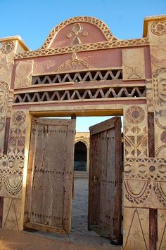 "Ancient Nubian door of our hotel for one night from ""Cruising Through the Magical Desert of Northern Sudan."""