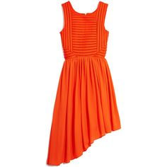 GUESS by Marciano Striped Fit-and-Flare Dress ($78) ❤ liked on Polyvore featuring dresses, orange, orange striped dress, orange dress, orange stripe dress, special occasion dresses and fit flare dress