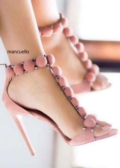 (61.90$)  Watch here - http://aishp.worlditems.win/all/product.php?id=32796960326 - Fancy Pink Suede T-Strap with Pompom Rivets Stiletto Heels Dress Sandals Women Pretty Back Zip Sexy Dress Shoes New Arrival