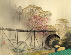 KAWAI Gyokudō(川合玉堂 Japanese, 1873-1957), Spring Drizzle (1942) por  on ArtStack #kawai-gyokudo-chuan-he-yu-tang-japanese-1873-1957 #art