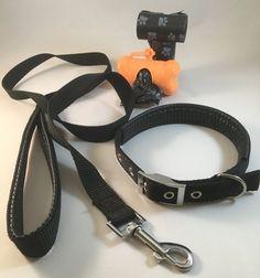DOG COLLAR AND LEASH SET 1D-BK (0.79 IN): [ + DISPENSER + BAGS] #Unbranded