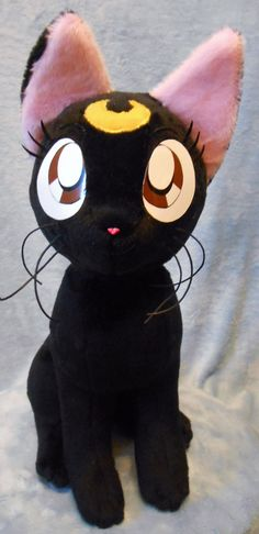 Sailor Moon Sailormoon inspired black cat sitting Luna plushie (approx 32 cm high) plush for cosplay 1:1 scale to show size made of minky by Renchanshop on Etsy https://www.etsy.com/listing/185384276/sailor-moon-sailormoon-inspired-black