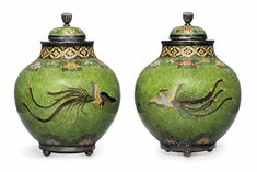 Meiji period pair of Namikawa Yasuyuki green ground vases-allartnews.com--Okay, they're JAPANESE, but they're pretty and I had to include them!