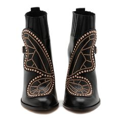 Sophia Webster Sleek black leather ankle boot embellished with a rose gold studded Butterfly and finished with a cool chunky heel. Black Leather Sneakers, Black Leather Ankle Boots, Leather Booties, Leather Shoes, Sophia Webster, Zapatos Shoes, Unique Shoes, Black Ankle Booties, Latest Shoes