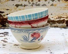 French Lovely Old Cafe Au Lait Bowls