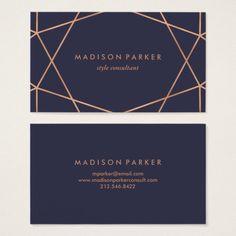 Modern Faux Rose Gold Geometric on Midnight Blue Business Card Black Business Card, Minimalist Business Cards, Modern Business Cards, Business Card Design, Vip Card, Visiting Card Design, Business Invitation, Logo Restaurant, Branding Design