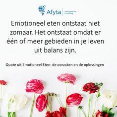 Emotioneel eten ontstaat niet zomaar. Het ontstaat omdat er één of meer gebieden in je leven uit balans zijn. Een quote uit mijn gratis e-boek. Download 'm gratis.