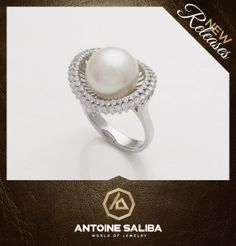 Diamond Ring 18Kt Gold with Fresh Water Pearl  Click for Details http://antoinesaliba.com/link.php?id=368 Free Shipping