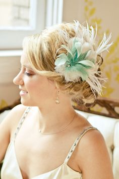 "Ivory & Teal ""Marion"" Feather Fascinator. $145.00, via Etsy."
