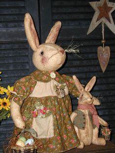 Primitive Handcrafted Folk Art Rabbit Dolls*Vintage Style*Mamma & Baby Boy Bunny #NaivePrimitive #SharonHall