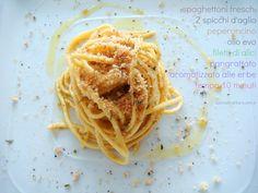 Cucina di Barbara: Ricetta spaghettoni freschi con aglio, olio e peperoncino con briciole di pane aromatizzate