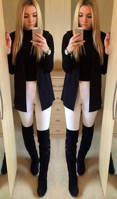 River Island Cropped Ribbed High Neck Sweater, Asos Sleeveless Blazer, Miss Selfridge High Waisted Skinny Jeans, Office Over The Knee Suede Boots