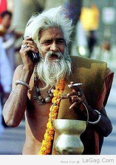 Sadhu Baba With Mobile