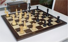 "British Staunton Chess Set in Ebonized Boxwood with Macassar Chess Board & Box - 3"" King"
