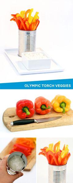 How cute is this Olympic Flame Veggie Tray idea via @PagingSupermom #olympics
