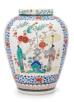 A Fine and Rare Kakiemon Vase. Edo period. Seventeenth c. Japan.  This jar was made in Arita for export to Europe and was probably commissioned by the Dutch East India Company at a time when Chinese wares were temporarily difficult to obtain.  This is one of grandest designs in Kakiemon and was much coveted in European collections.