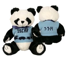 These personalized pandas are a perfect gift to give to your little. You can choose the color of the sweater and what goes on it!