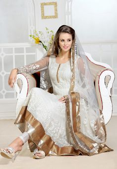 White Faux Georgette Anarkali Semi-stitched Churidar Kameez