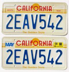SET 2 VTG CALIFORNIA LICENSE PLATES Sun White Blue Yellow Red GOLDEN STATE 88