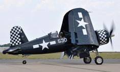 """Corsair prepares for takeoff during the """"Wings Over Tyler Air Show"""" at Tyler Pounds Regional Airport, in Tyler, Texas Navy Aircraft, Ww2 Aircraft, Fighter Aircraft, Military Aircraft, Fighter Pilot, Fighter Jets, Black Sheep Squadron, Aircraft Propeller, F4u Corsair"""
