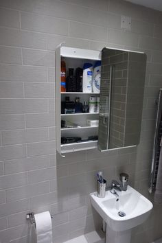 The bathroom cabinet was purchased from ikea (Brickan mirror cabinet) it's a great design for the smaller bathroom as rather then have a door swinging out, you open it from the side.