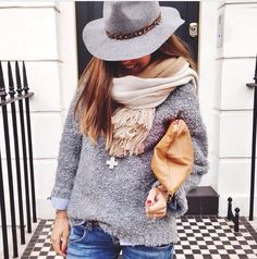 Sweater, scarf, and hat for a cool day